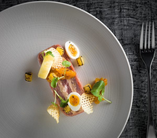Ham Hock And Foie Gras - 'Ham, Pineapple, Egg & Chips' Ham Hock and Foie Gras Terrine, Salt-baked Pineapple, Quail's Egg, Game Chips, Pineapple and Chilli Chutney 2