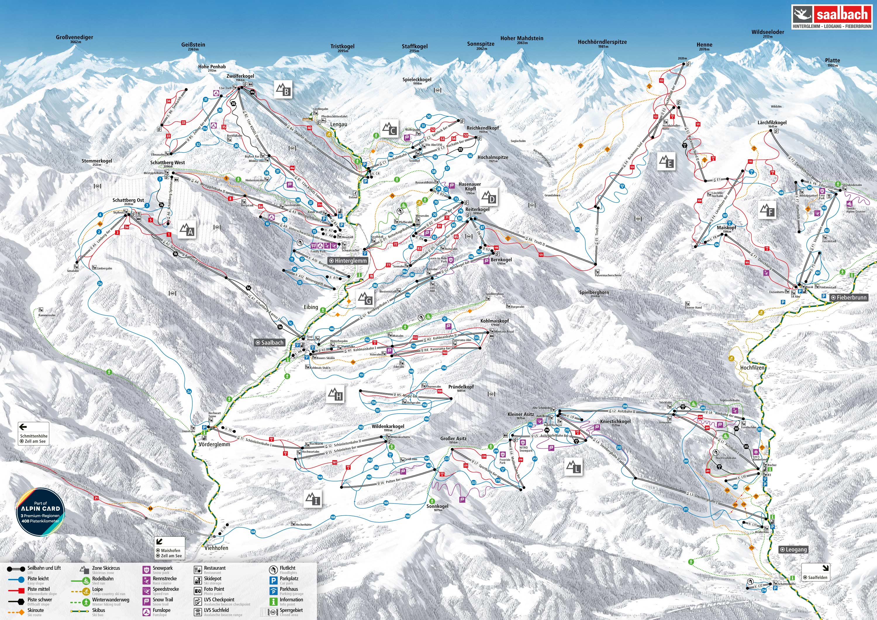 SkiCircus - Leogang Piste Map