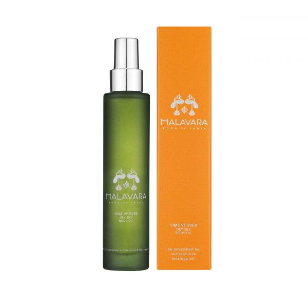 Malavara Lime Vetiver Dry Silk Body Oil With Box