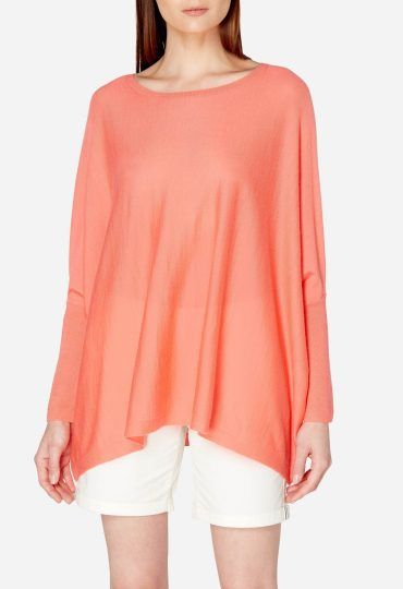 Sleeved Superfine Cashmere Poncho Rich Coral Pink