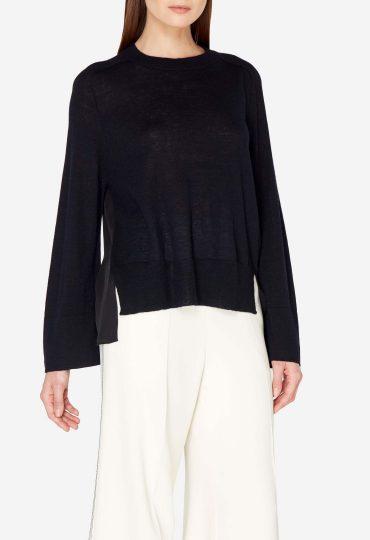 Wide Sleeve Silk Layer Cashmere Jumper Navy Blue Black Silk