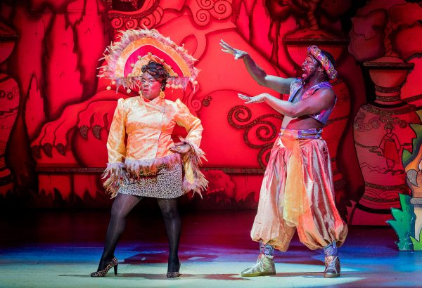 Aladdin Hackney Empire 23rd November 2018 Director Susie McKenna Designer Lotte Collett Lighting Designer David Howe Widow Twanky Clive Rowe The Empress Tameka Empson Aladdin Gemma Sutton Princess Ling Mai Julie Yammanee Genie Of The L