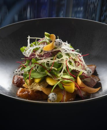 Hahhasan CNY 2019 dishes @ Hakkasan, Shanghai, China = Peking Duck w Crispy Bean Curd & Mango