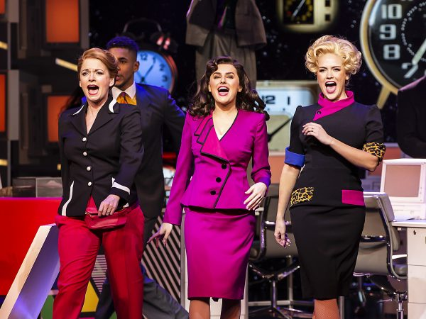 9 TO 5 THE MUSICAL. Caroline Sheen 'Violet Newstead', Amber Davies 'Judy Bernly' and Natalie McQueen 'Doralee Rhodes'. Photo Pamela Raith