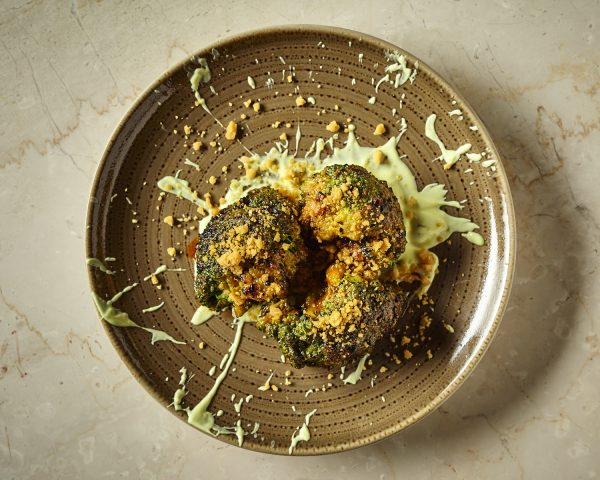 Tandoori Broccoli marinated, honey, nigella seeds and wheat crisps; Kahani, 1 Wilbraham Place, London SW1X 9AE