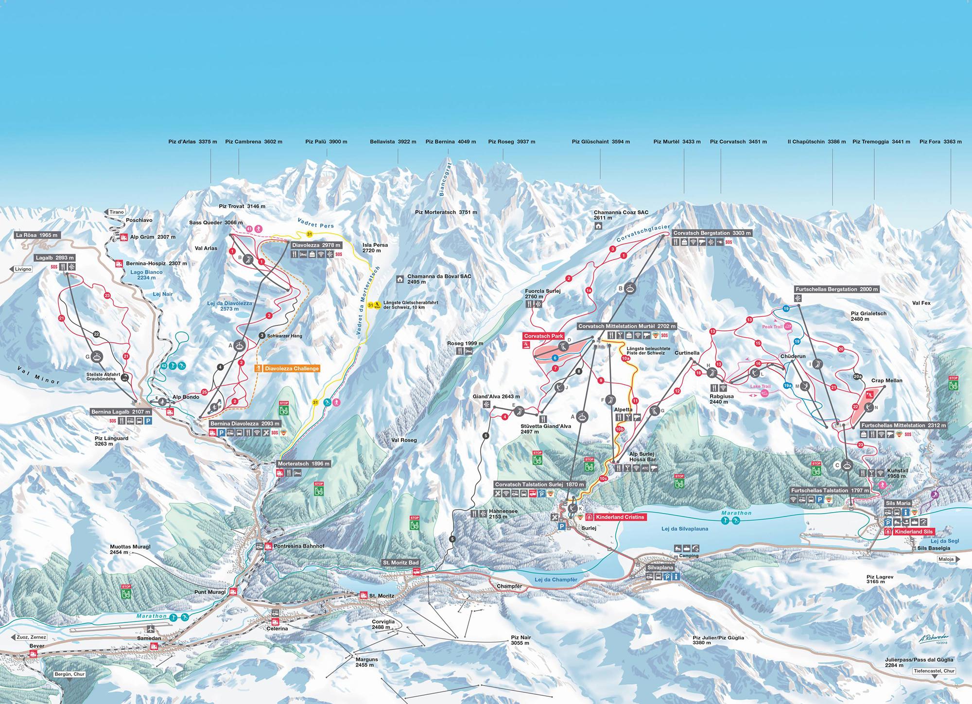 Corvatsch Diavolezza Lagalb Piste Map