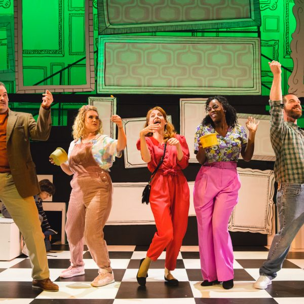 L-R Joel Montague (Mendel), Natasha J Barnes (Cordelia), Laura Pitt-Pulford (Trina), Gemma Knight-Jones (Charlotte) & Daniel Boys (Marvin) - Falsettos The Other Palace - Photos By The Standout Company (097)