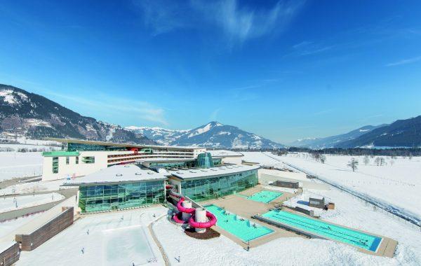 Tauern Spa exterior overhead winter