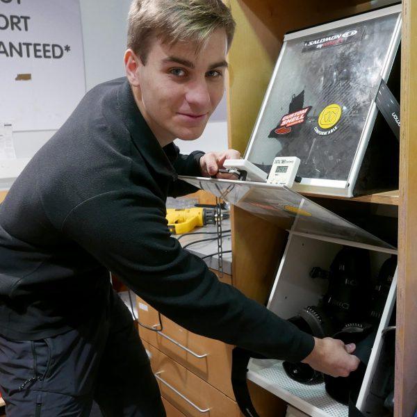 Ollie Hackney, Salomon boot fitting expert. Pic Michael Cranmer