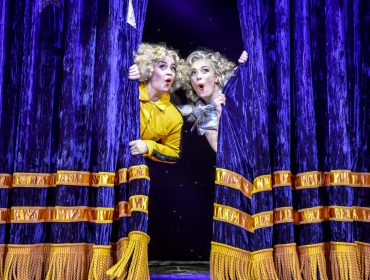 L-R - Nancy Zamit (Bear) and Bryony Corrigan (Spitzmaus) in Magic Goes Wrong. Photo credit Robert Day