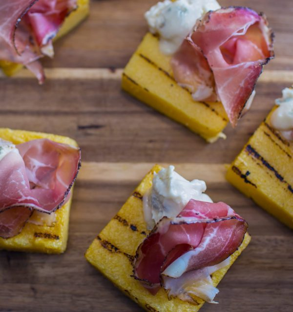 Grilled Polenta with Gorgonzola + Speck