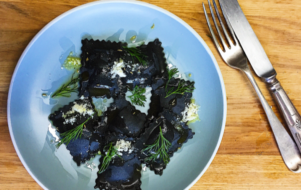 squid ink stained King Prawn and Crayfish Ravioli