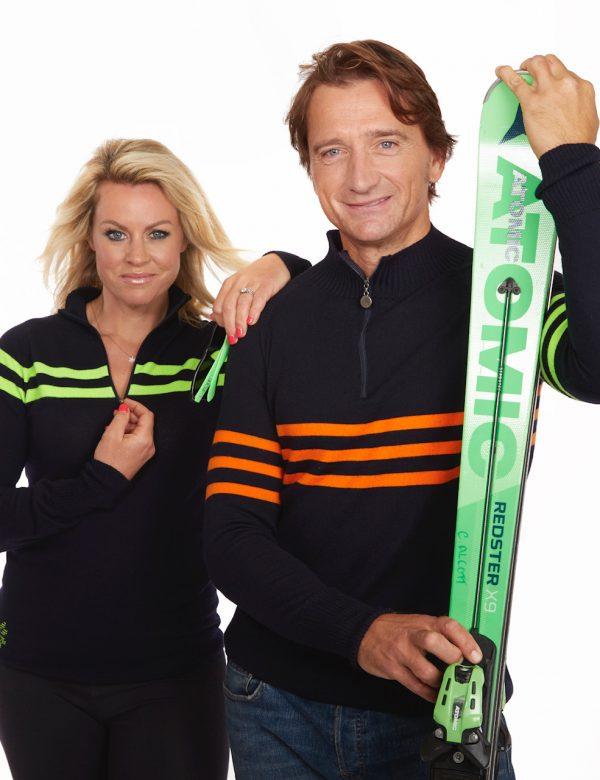 snow finel ski wear sw1010 classic stripe green navy pair_051