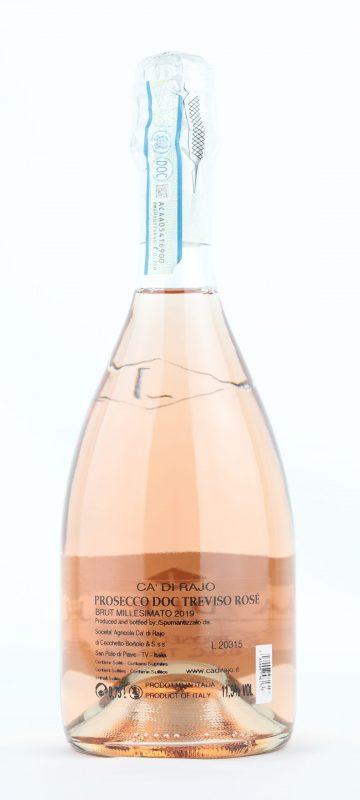Back label of Ca' di Rajo Prosecco DOC Treviso Rosé Millesimato